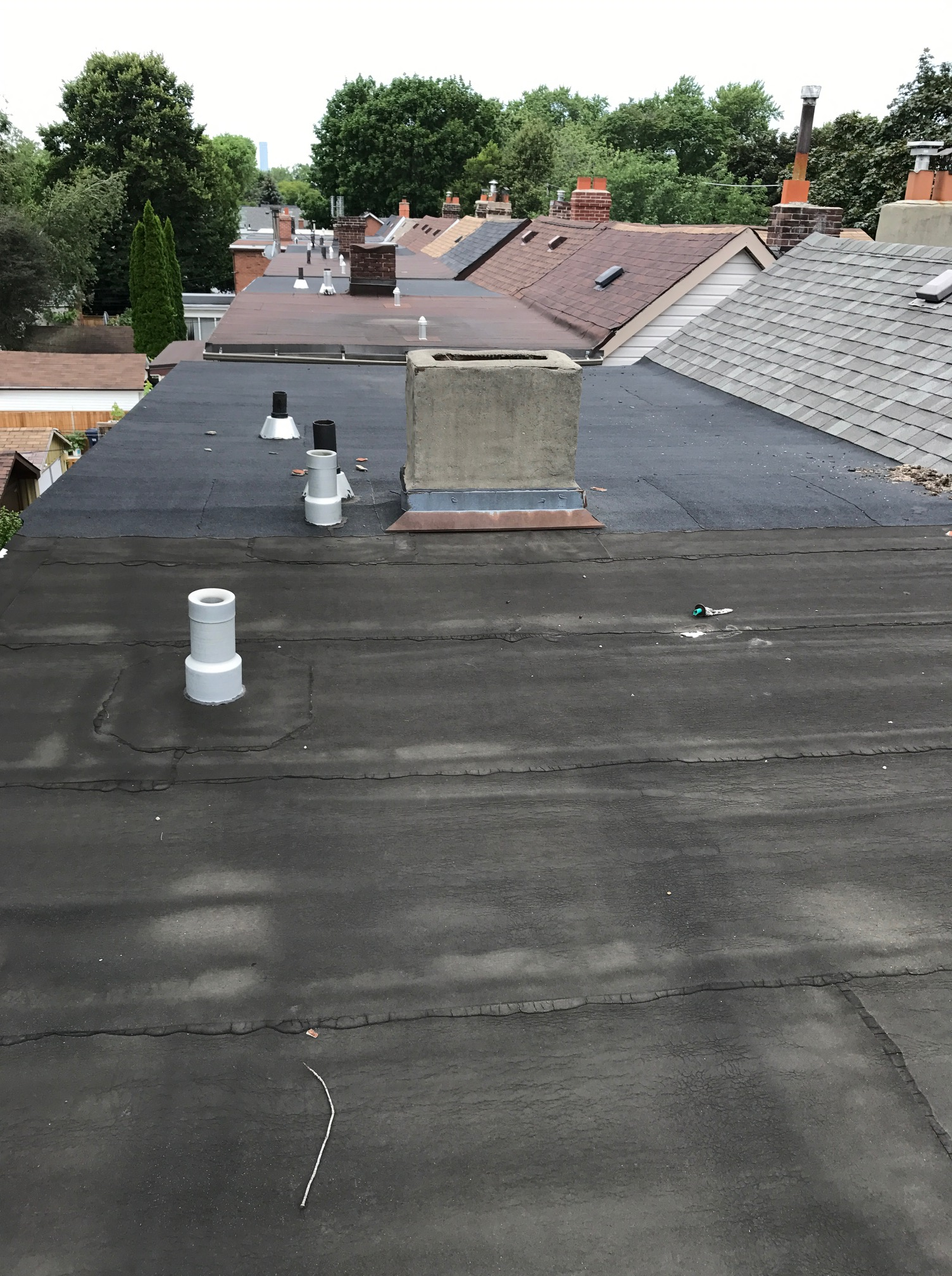 Bitumen roof back to wall wc pan