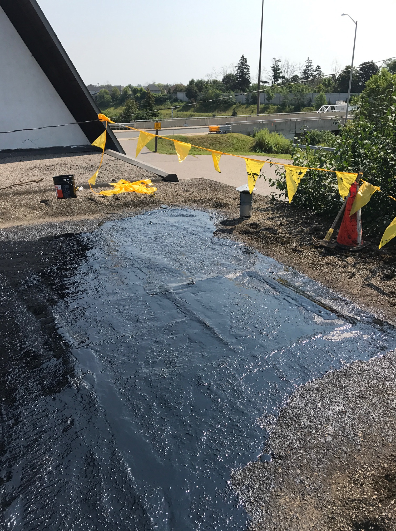 Cold Tar Repairs To Flat Top Roof Pickering Roofing