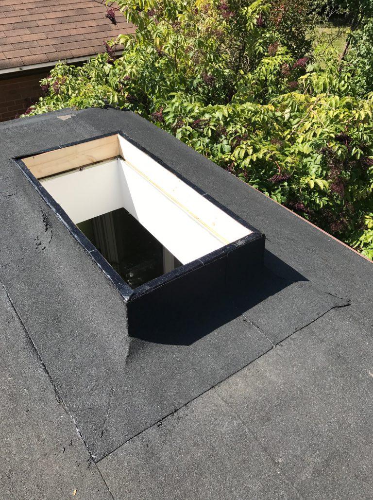 Modified bitumen membrane flashing to skylight in North York