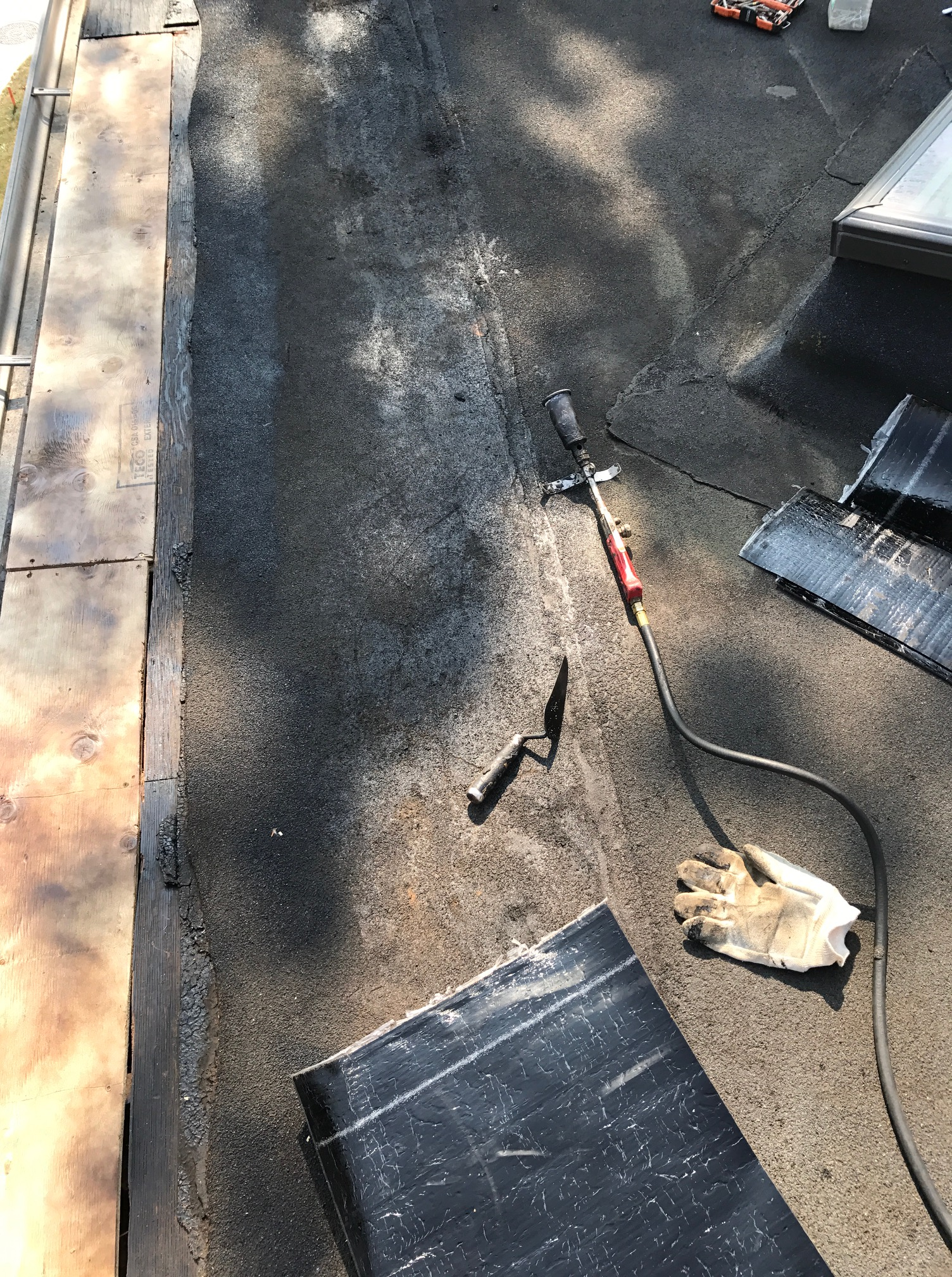 Torch welded membrane flat roof Leaside
