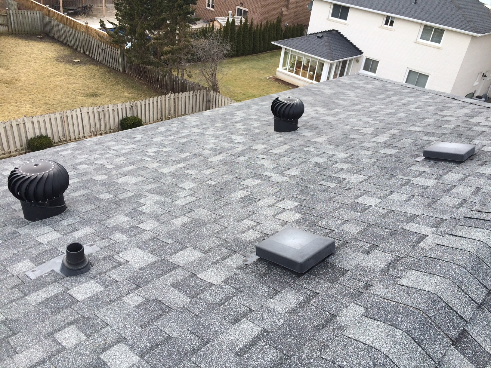 Asphalt shingles on residential roof in Woodbridge