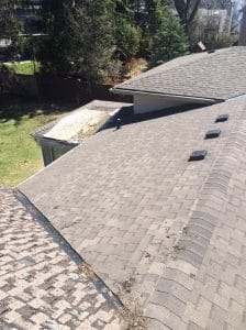 Deteriorated asphalt shingles in Scarborough