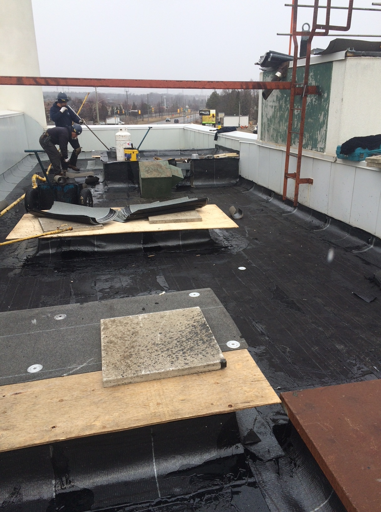 Built up commercial roofing application in Pickering