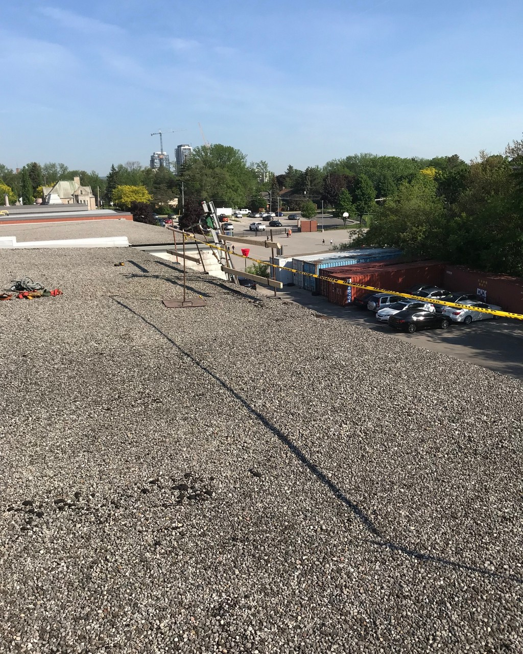 Safety rails on commercial roof in Burlington