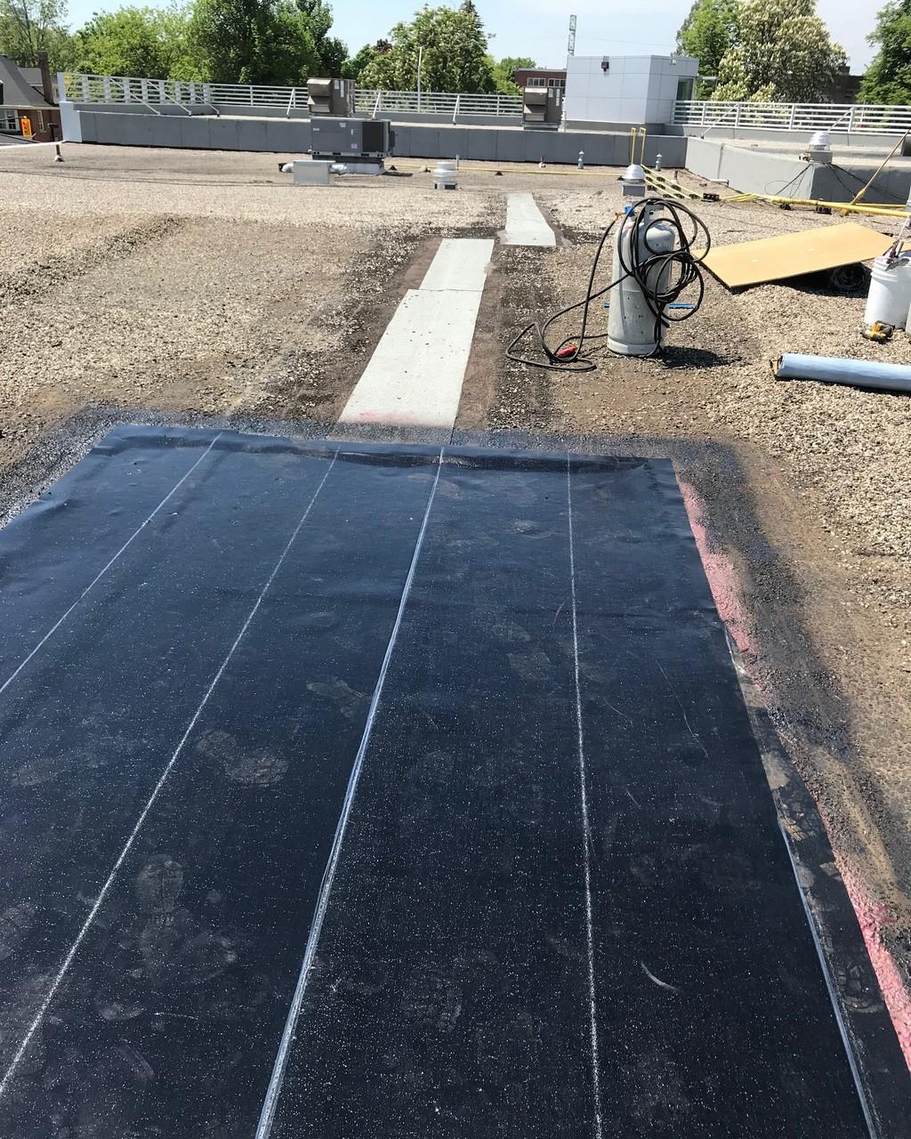 Peel and stick bitumen membrane on Accura car dealership in Burlington