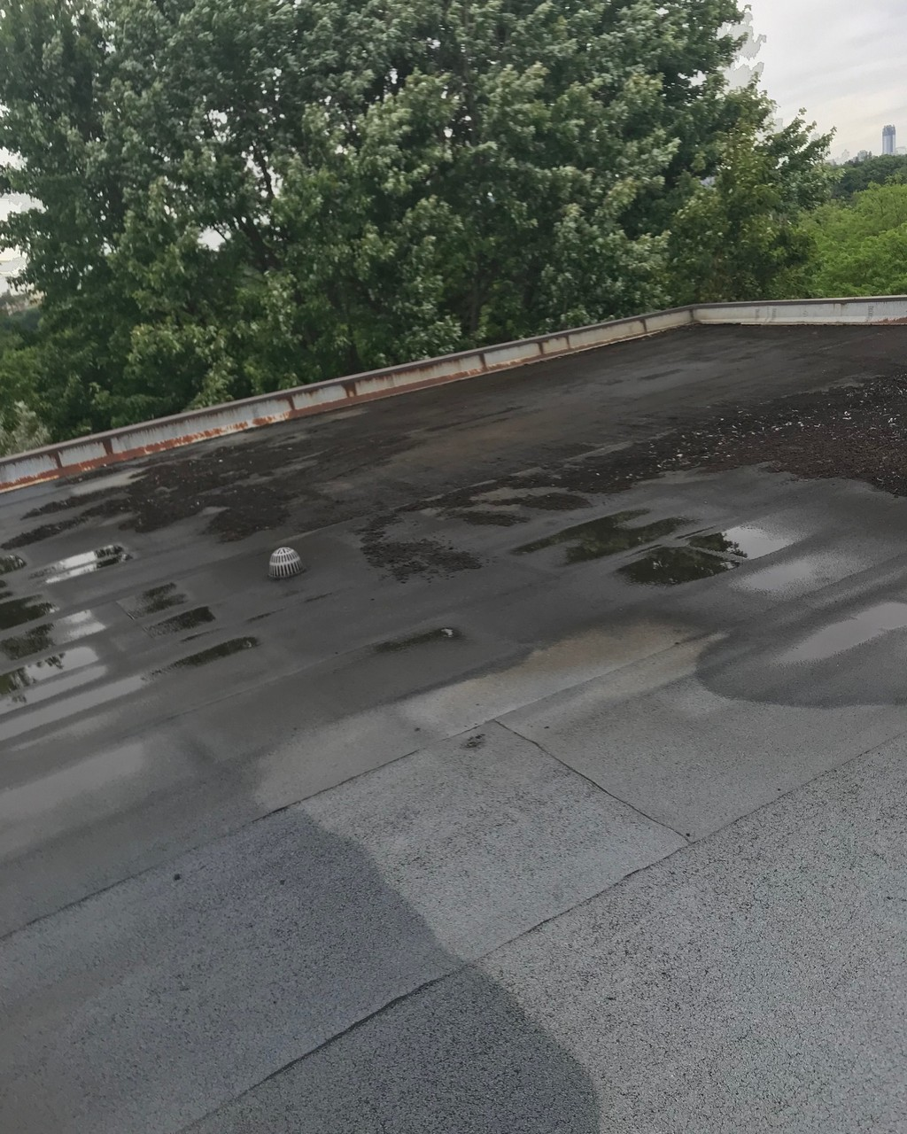 Excessive ponding of water on flat roof in Toronto