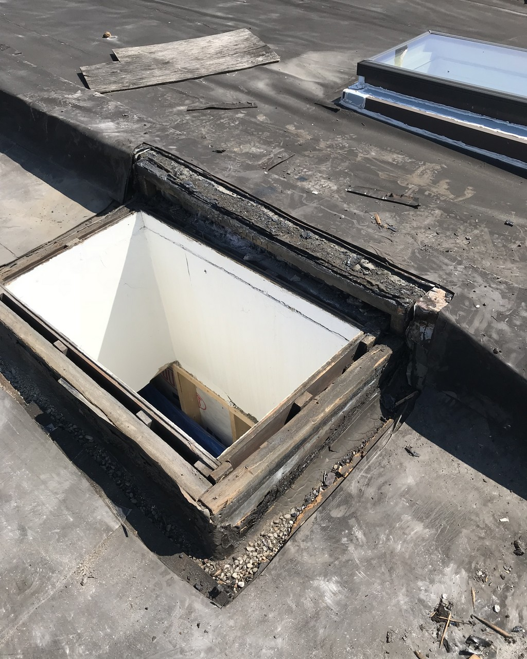 Skylight installation on flat roof in Toronto