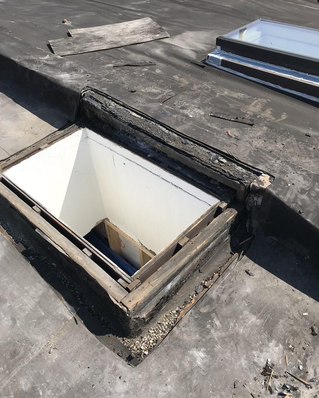 Skylight installation on flat roof in Toronto
