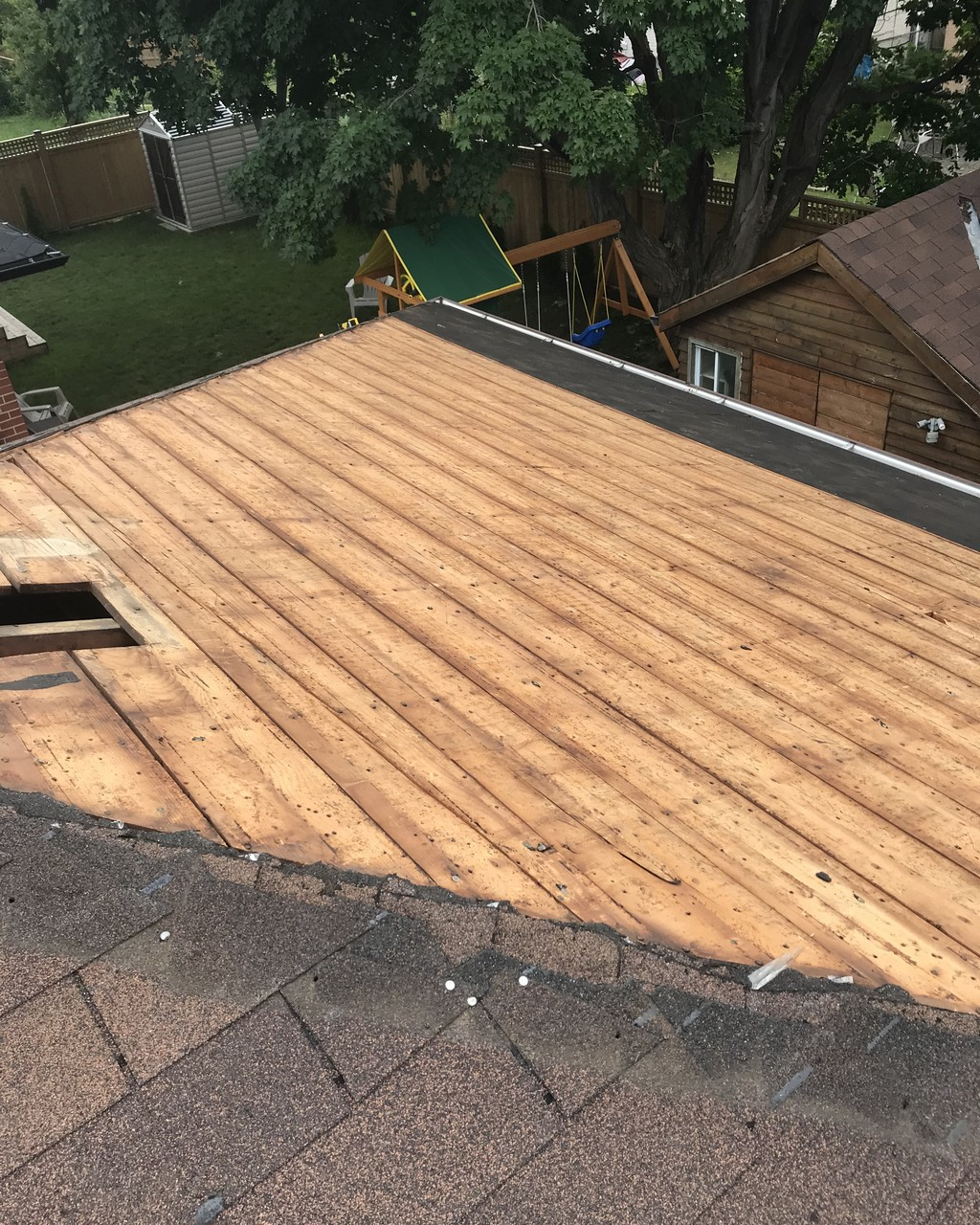Sloped roof replacement on Scarborough home