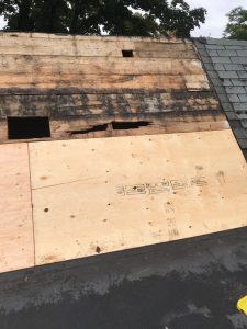 New plywood sheathing on flat roof repairs in Toronto