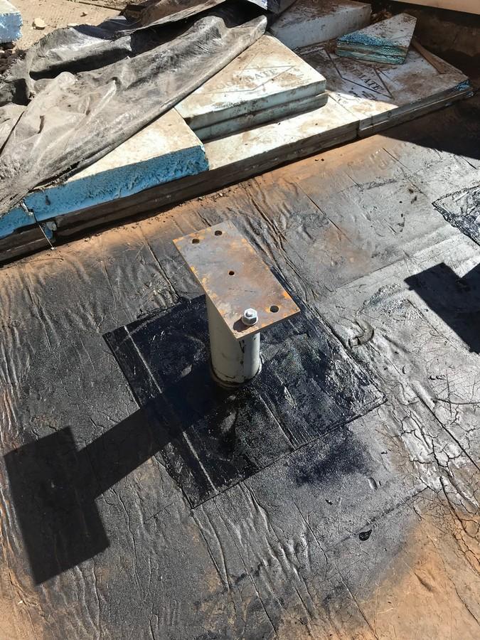 Soprema modified bitumen target flashing on flat roof in Toronto