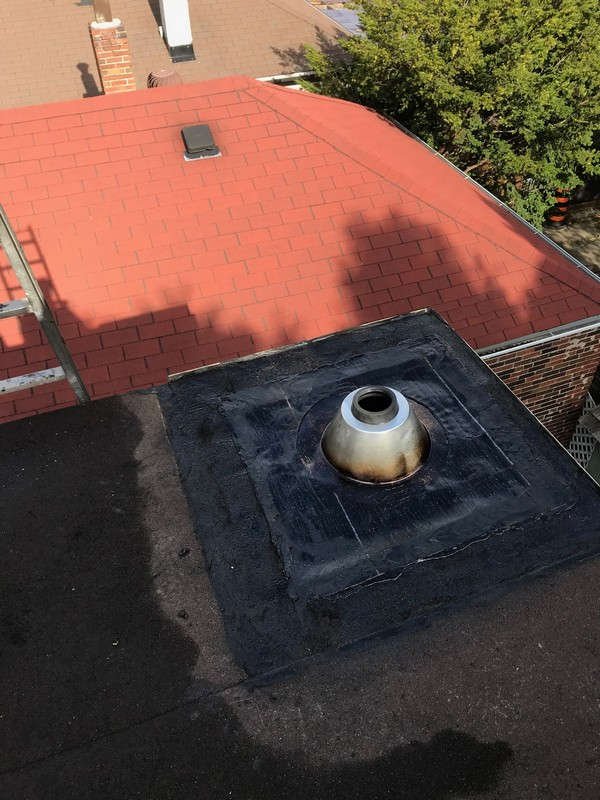 Three inch plumbing stack installed on flat roof in Toronto