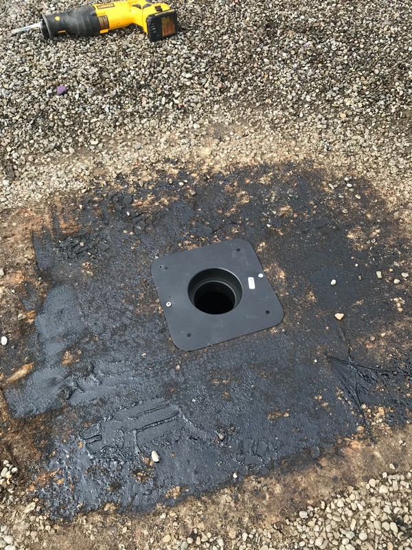 Exhaust vent flange installation on commercial building in Ajax