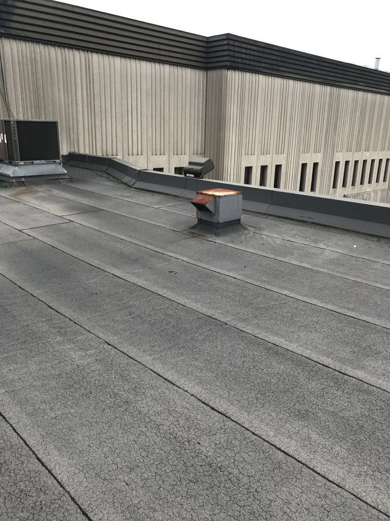 Field membrane of flat roof on office building in Etobicoke