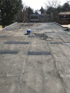 Flat roof repairs to Soprema membrane roof system on home in York Mills