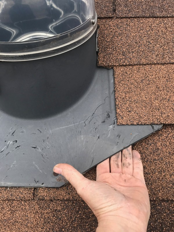 Roof repairs to solar vent on low pitch roof in Ajax
