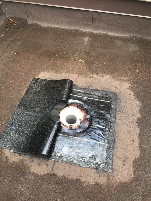 Soprema base sheet flashing at 4 inch roof drain in Erin Mills