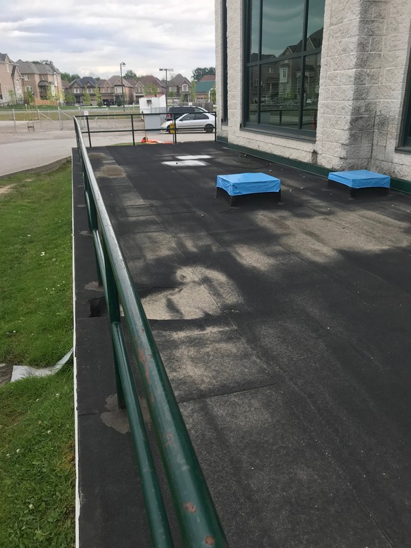 Bakor Blue skin membrane installed on roof curb on flat roof in Pickering